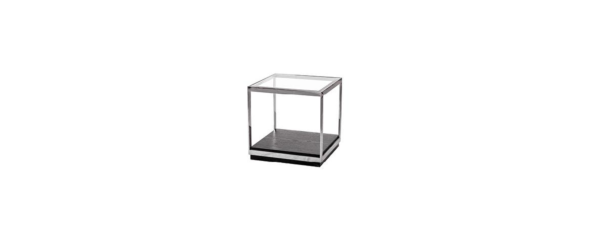 Crawford Metal Frame Glass Top End Table