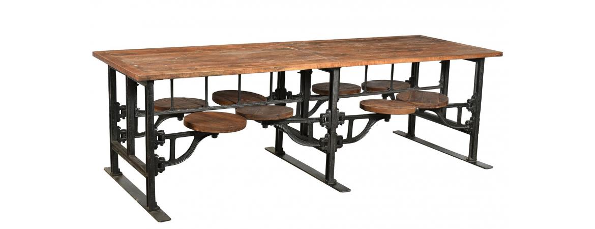 Eight Seater Iron and Wood Industrial Dining Table with Adjustable Swivel Seating