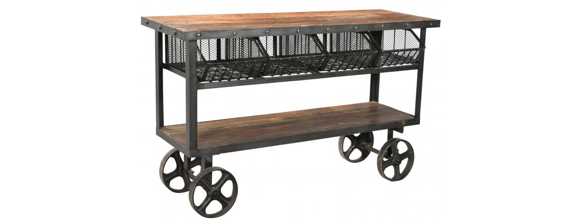 Iron and Reclaimed Timber Trolley With 4 Metal Baskets