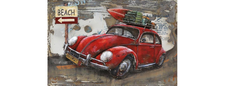 3d Metal Vw Beetle Beach Trip Painting