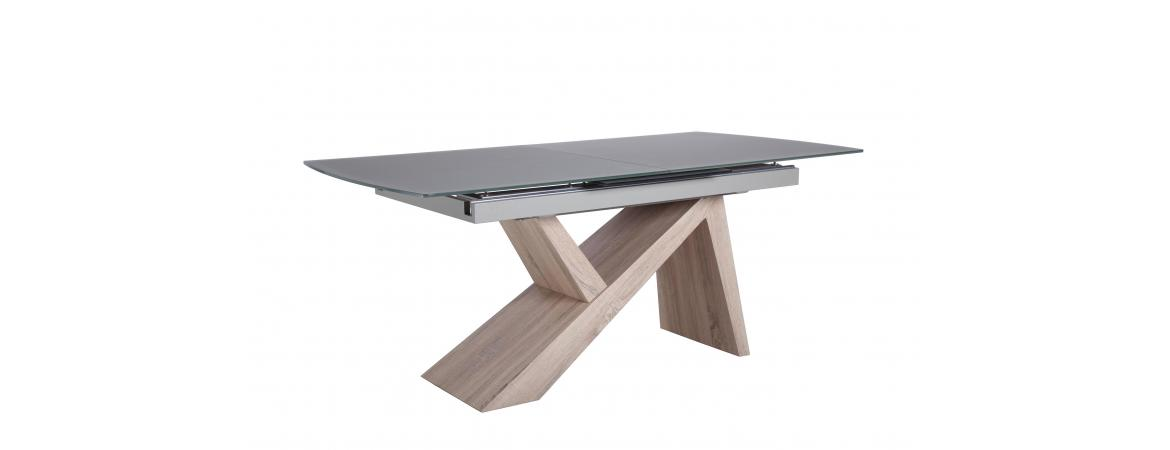 Assymetric Base Extension Dining Table 1.8- 2.2m in Sanded Grey Glass Top