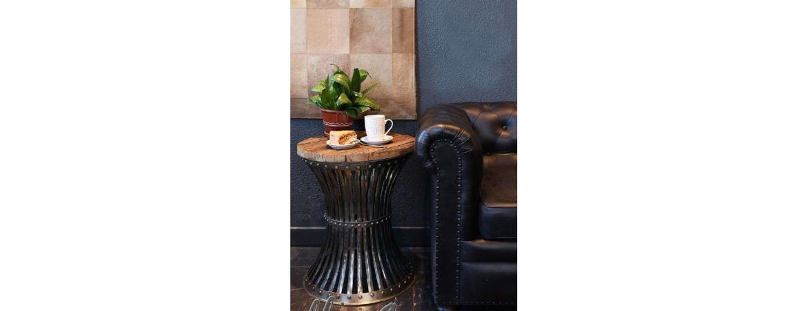 Caged Round Metal Side Table