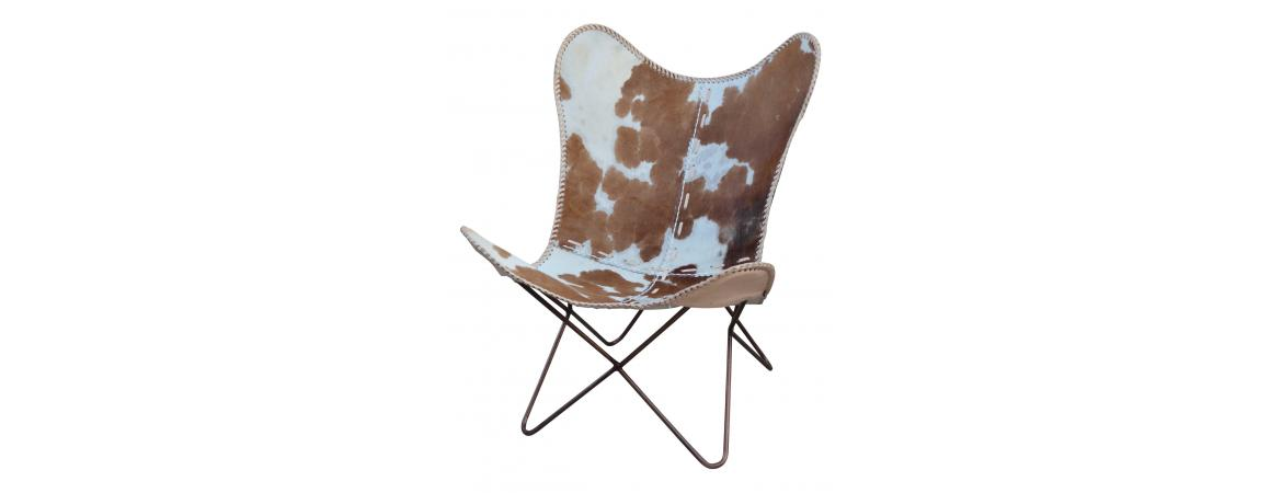 Iron & Cowhide Leather Butterfly Chair in Tan & White