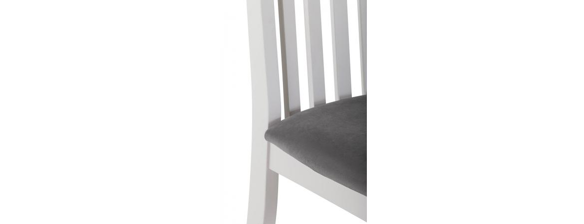 Vertical Slats Dining Chair with Plush Asphalt Fabric Seat