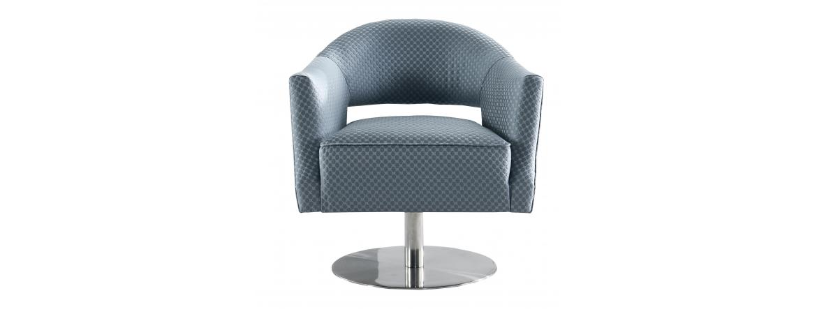 Grey Circle Stich Swivel Chair