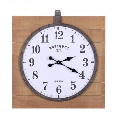 Clock Hung on Square Wooden Panelling