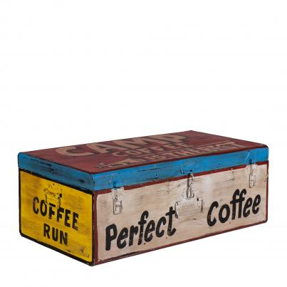 Hand Painted Iron Trunk Coffee