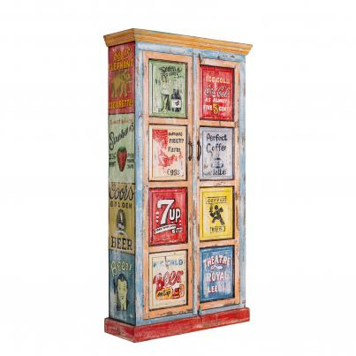 Hand Painted Tall Vintage Ad Cabinet