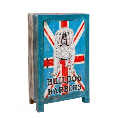 Hand Painted British Bulldog Narrow 1 Door Cabinet