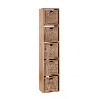 Solid Oak Cube with 5 x Jute baskets