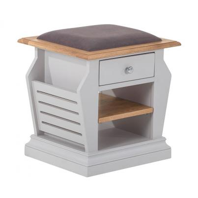 Organiser Stool with Plush Mole Fabric Seat