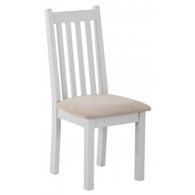 Vertical Slats Dining Chair with Plush Platinum Fabric Seat