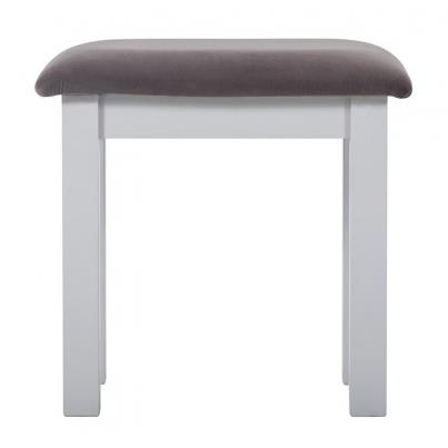 Dressing Stool with Plush Slate Fabric Seat