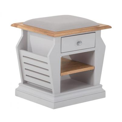 Organiser Stool with Plush Platinum Fabric Seat