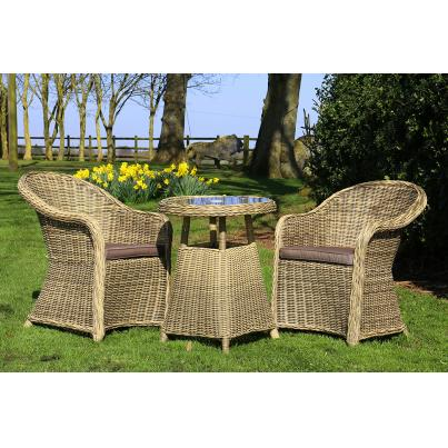 Wicker & Rattan Dining Set 2 Chairs