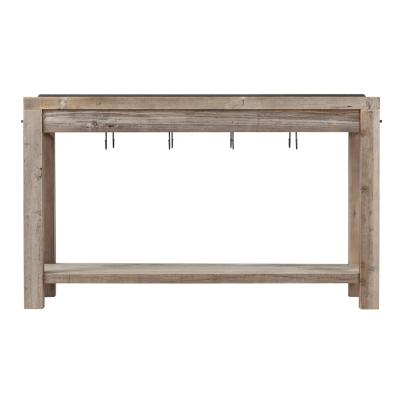 Reclaimed Wood Work Bench With Hooks