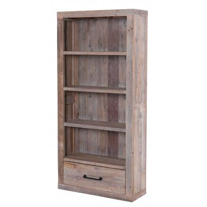 Reclaimed Wood Bookcase With 1 Drawer