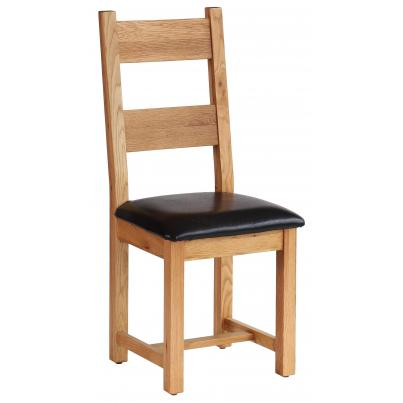 Horizontal Slats Dining Chair with Chocolate Leather Seat