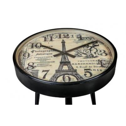 Round Iron Side Table Clock