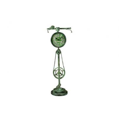 Green Antique Recycled Iron Bicycle Clock