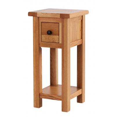 Tall Side Table with 1 Drawer & Shelf