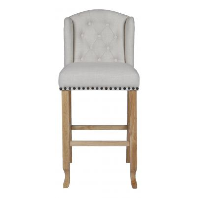 Pack of 2 - Beige Bar Stool with Studded Detail