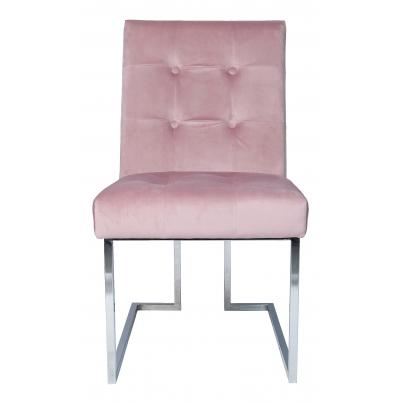 Pack of 2 - Pink Velvet Chair with Chrome Legs