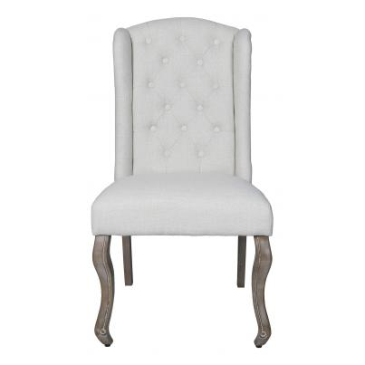 Pack of 2 - Beige High Back Chair with Studded Detail KD