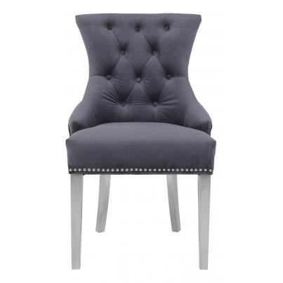 Pack of 2 - Grey Velvet Chair with Studded Detail & Stainless Steel Legs