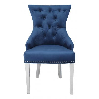 Pack of 2 - Blue Velvet Chair with Studded Detail & Stainless Steel Legs
