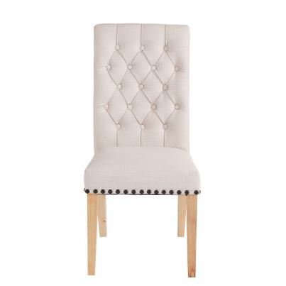 Pack of 2 - Beige Dining Chair with Studded Detail & Knocker