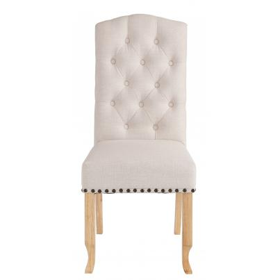 Pack of 2 - Beige Dining Chair with Studded Detail