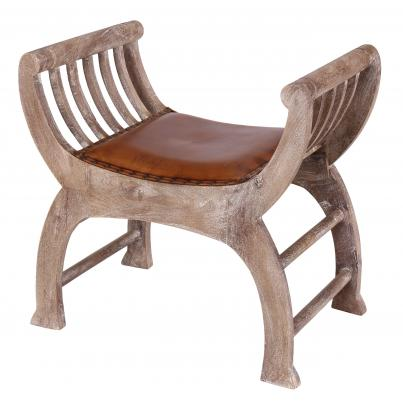 Curved Wooden Leather Seat Stool