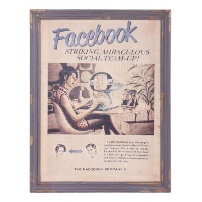 Vintage Inspired Facebook Framed Print