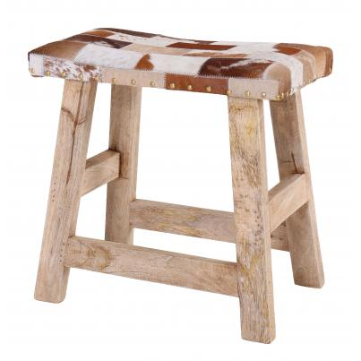 Square Leather Stool