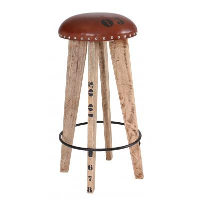 Round Wooden Stool With Leather Pad and Iron Footrest