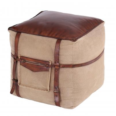 Leather And Fabric Square Pouffe