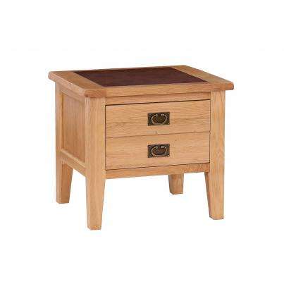 1 Drawer Lamp Table with Leather Top