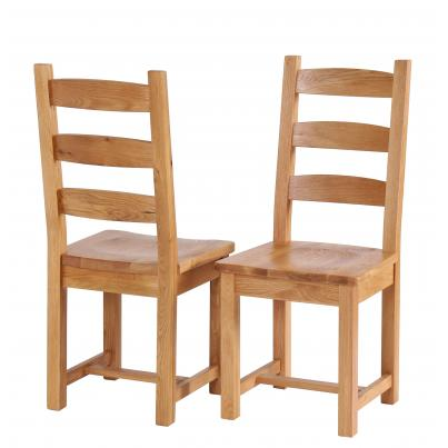Horizontal Slats Solid Oak Dining Chair