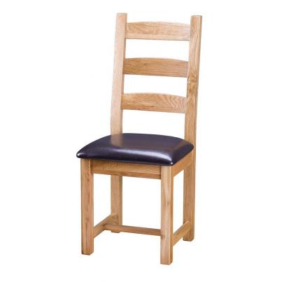Horizontal Slats Dining Chair with PU Seat