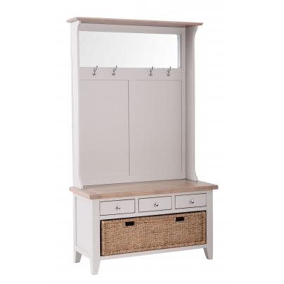 3 Drawer Hall Tidy Bench with Coat Rack Mirror & Basket Drawer