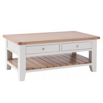 Rectangular Coffee Table with 2 Drawers & 1 Shelf