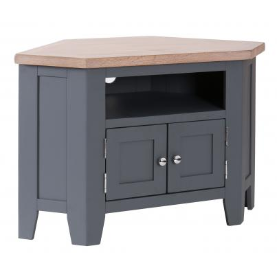 90 Degree Corner TV Unit with 2 Doors & 2 Shelves
