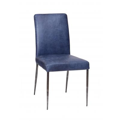 Dark Blue Dining Chair with High Back
