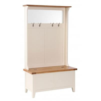 Hall Tidy Storage Bench with Coat Rack & Mirror
