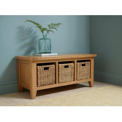 Storage Bench with 3 Basket Drawers