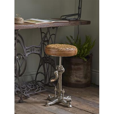 Leather & Iron Wind Up Stool