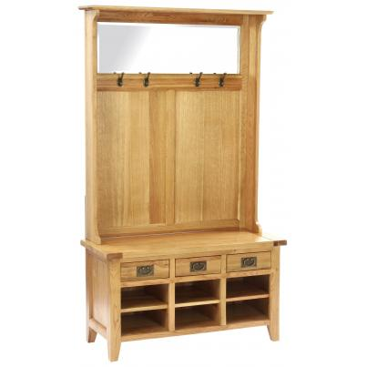 3 Drawer Hall Tidy Bench with Coat Rack Mirror & Shoe Storag