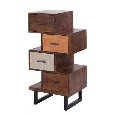 Multi Finish 4 Drawer Asymmetric Chest