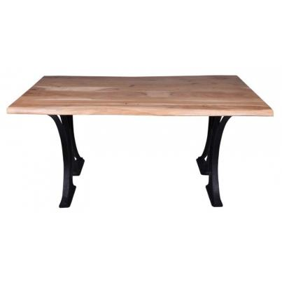 Live-edge Natural Acacia Dining Table- Cast Iron Base 2m